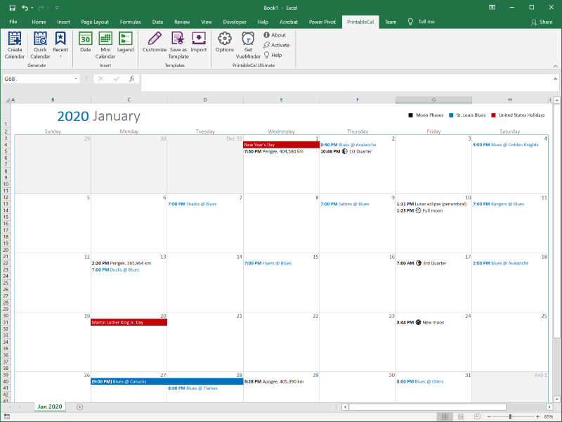 Create printable calendars in Excel and Word